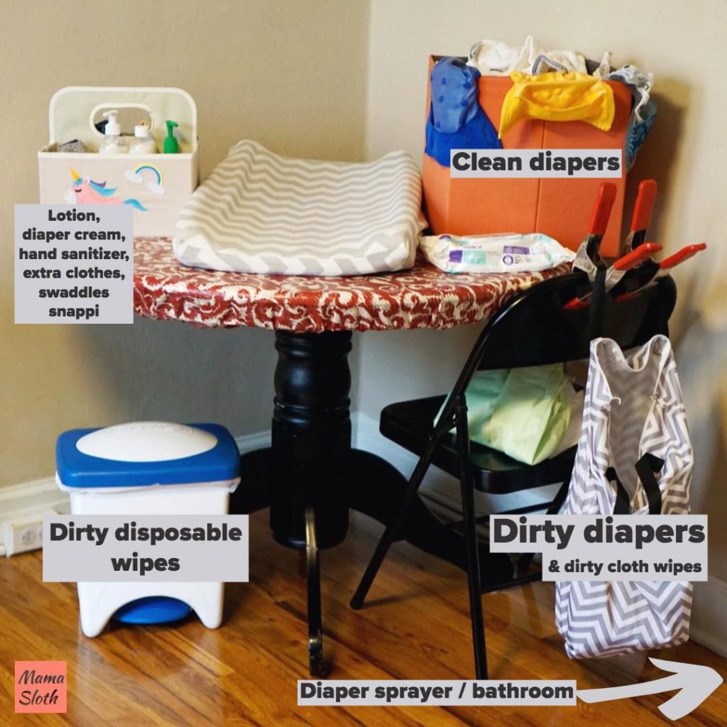 Cloth diaper changing station