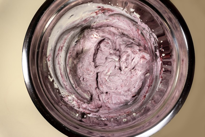 Healthy and Delicious Blueberry Whipped Cream Frosting with only 2 ingredients.